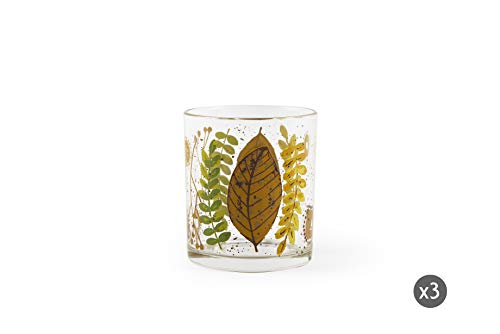 Excelsa Autumn Leaves - Juego de 3 vasos de agua, vidrio prensado
