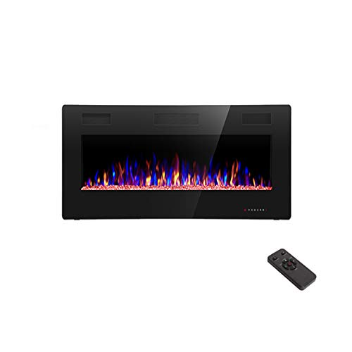 R.W.FLAME 36 inch Recessed and Wall Mounted Electric Fireplace, Ultra Thin ad Low Noise, Fit for 2 x 4 and 2 x 6 Stud, Remote Control with Timer,Touch Screen,Adjustable Flame Color and Speed