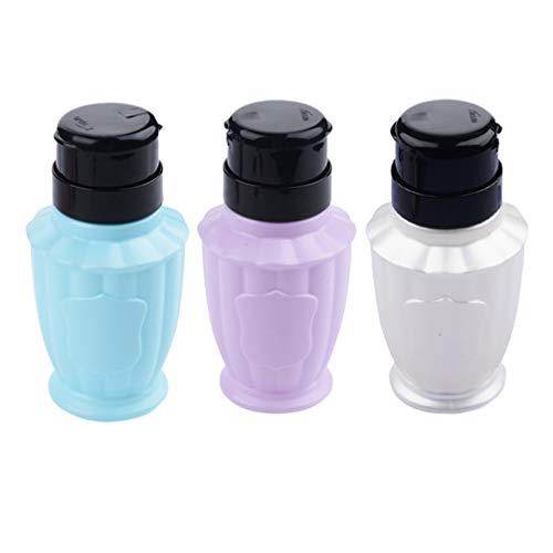 Lurrose 3pcs pousse la bouteille de dissolvant de vernis à ongles distributeur vide presse pompe à pompe bouteille bouteille pompe à pompe liquide (couleur aléatoire)