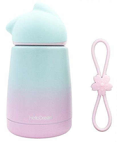 Bouteille isotherme en acier inoxydable Hello Dream - Mug de transport anti-fuite, portable pour voyages - Taille mini - Avec brosse et poignée - Couleur dégradée - 300 ml Green-purple