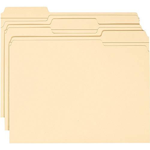 Smead WaterShed File Folder, Reinforced 1/3-Cut Tab, Letter Size, Manila, 100 Per Box (10314)