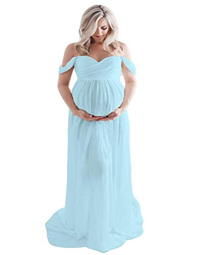 BUOYDM Embarazada Chifón Larga Vestido de Maternidad Split Vista Delantera Foto Shoot Dress Faldas Fotográficas de Maternidad