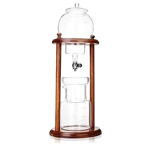qiuqiu Eiskaffee-Tropfkaffeemaschine, Hölzerne Wassertropfen-Kaffeemaschine, Wiederverwendbare Glasfilterwerkzeuge, Manuelle Kaffeemaschine Filterkaffeemaschine 600 Ml
