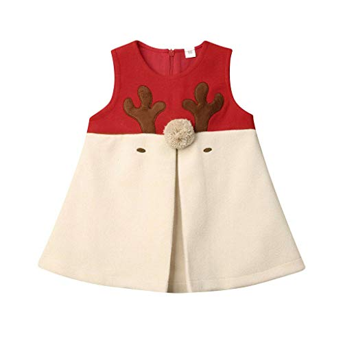 Kleinkind Kinder Baby Mädchen Weihnachten Elch Tops Kleid Winter Prinzessin Weste Kleidung