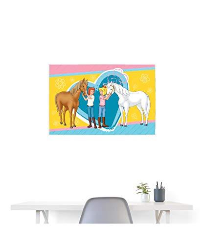 Spreadshirt Bibi und Tina Pferde Amadeus und Sabrina Herz Poster 90x60 cm, Weiß