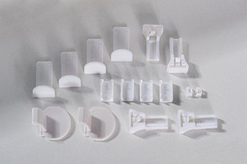 K-home Klemmträger und Zubehör Montage-Set für Klemmfix Plissee Lucera, Plastik, weiß, 3,5 x 2 x 4 cm
