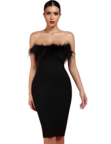 whoinshop Women's Sexy Off Shoulder Feather Bandage Evening Club Party Dress