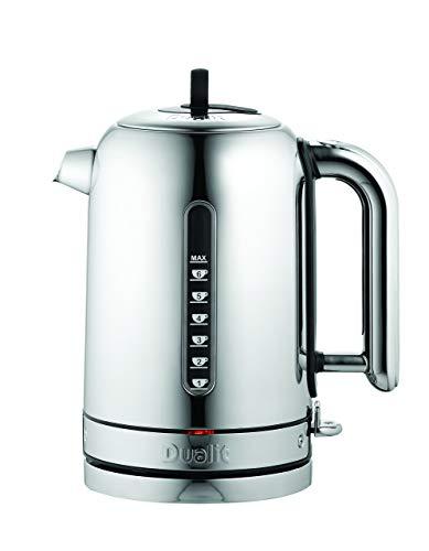 DUALIT Classic Wasserkocher – Wasserkocher Design Edelstahl Hochglanz mit Schwarzem Rand –Schnellaufheizend Design Wasserkocher leise 1,7L, 3kW – Wasserkocher mit Wasserfilter