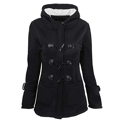 Dames Lange Hoodies Dames Plain Sweatshirt Lange Mouwen Jas Klassieke Hoorn Lederen Gesp Clip met Zakken