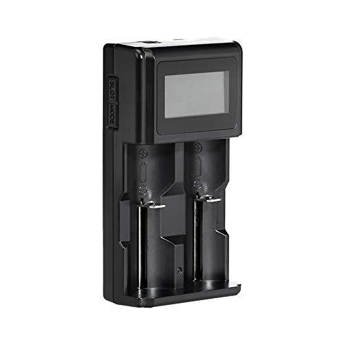Amazon Basics - Caricabatterie digitale intelligente per 2 batterie