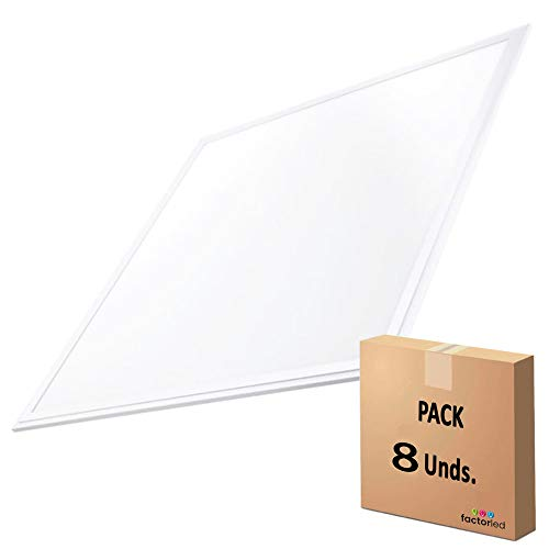 FactorLED Pack x8 Panel LED 60x60 cm 44W, 8 unidades Lampara LED para Falso Techo, Placa LED Driver Philips, Bajo Consumo, 7000 Lumenes, No Flick, Marco Blanco Varias Temperaturas (Luz Fría (6000K))