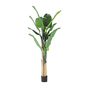 Worth Garden 6 Feet Artificial Banana Tree 70 inch. Fake Plant Tropical Palm Tree for Indoor Outdoor, Perfect Faux Silk Plants in Pot for Home Office Store Decoration