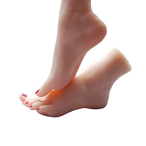 KYWW 1 par de pies Femeninos Realistas con Esqueleto,Los Dedos de los pies Pueden Hacer Movimientos fijos, Modelo de pie de simulación de Silicona de Fetiche de pies