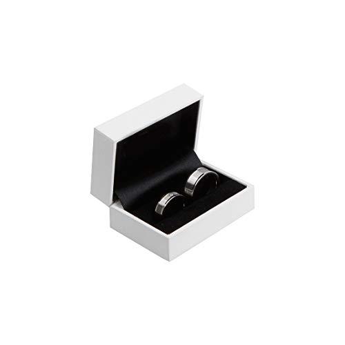 Trauringetui Ehringe Box Hochwertige Ring-Schachtel Ringbox für Hochzeit Valentinstag Verlobungsring Weiß Box10