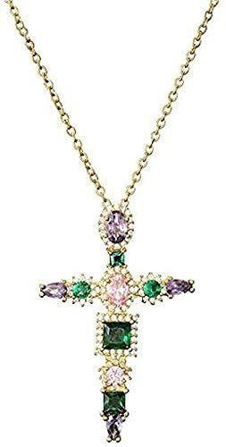 MNMXW Collar Wen, Collar con Colgante de Cruz de Cristal Colorido de Moda 2020 para niñas Wen, Collar de Cadena de Oro de 45cm, Regalo de joyería Cristiana