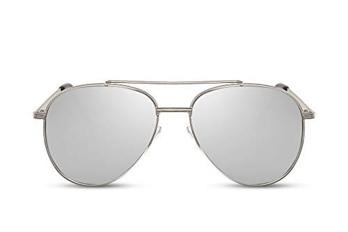 Cheapass Sonnenbrille Silber Verspiegelt Piloten Flieger-Brille UV-400 Hochwertig Metall-Rahmen Damen Herren