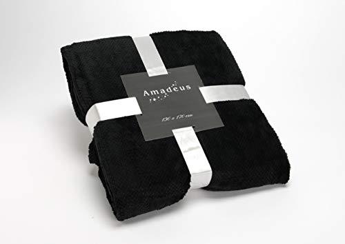 Plaid Calin, de couleur noire, 130x170 cm, en polyester, Amadeus