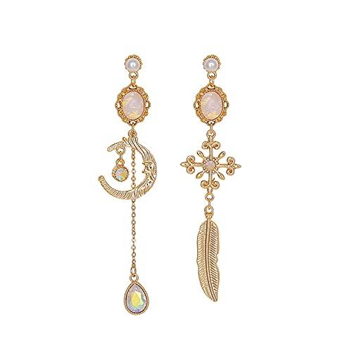 Pendientes Pequeños De Perlas Asimétricas Pendientes Largos Femeninos Colgantes De Plumas Pendientes De Estrella Y Luna Pendientes Aguja De Plata