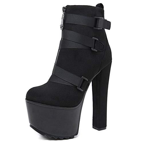 Mode Super hoge hak vrouwen enkellaarzen zwart webbing riem hoogte verhogen vrouwen laarzen dikke hak damesschoenen
