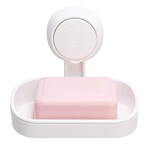 Jabonera con ventosa de succión potente, soporte de esponja fuerte para ducha, baño, bañera y fregadero de cocina, sin taladros, extraíble