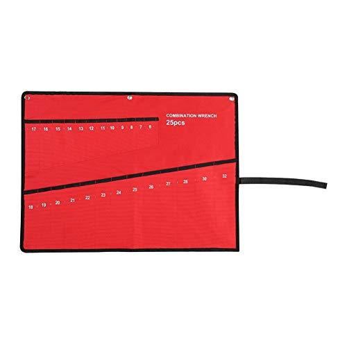Yosoo スパナ収納バッグ DIYツールバッグ 工具袋 収納ポケット キャンバス ロールアップ レンチ工具収納袋 軽量 持ち運びが容易 耐久性 実用 レッド(05)