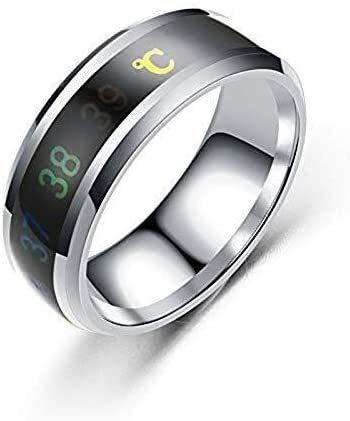 Temperatuur Monitor Rings, digitale thermometer Body Temperature Sensor Smart Trouwringen Koppel Lovers Rings, Geschikte Maat Titanium Steel Wave ringen (Kleur: Zwart, Maat: 11#)