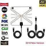 [2018 NEWEST] JEYINKER Amplified HD Digital TV Antenna with Long 80 Miles Range Thicker Coaxial USB Cable-Support All Smart TV,1080p 4K Channels