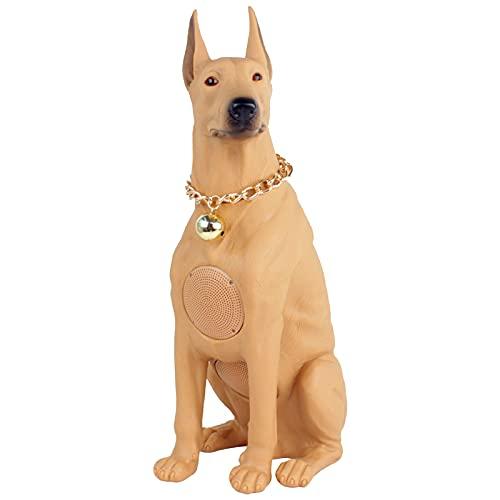ZEIYUQI Big Dog Bluetooth Wireless Lautsprecher,Pet Dog Subwoofer Lautsprecher TF/USB/FM/AUX/TWS/Bluetooth V5.2 Bulldogge Dobermann Labrador Retriever Sound,Brown-Doberman
