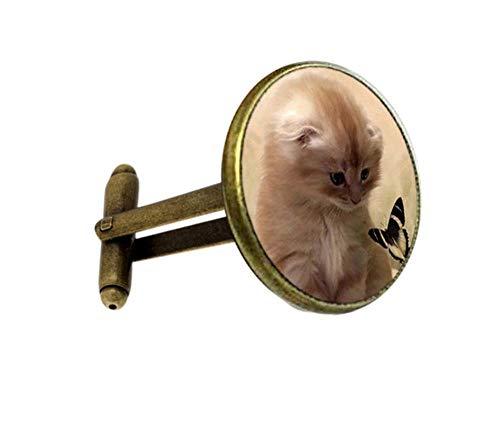 Shah Cufflinks Manschettenknopf Persönlichkeit Tier runde Glasanhänger Retro Manschettenknöpfe Bronze
