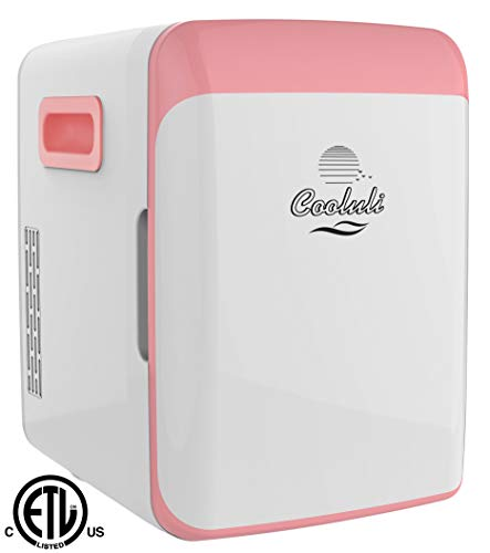Cooluli Electric Cooler and Warmer (10 Liter / 12 Can): AC/DC Portable Thermoelectric System (Pink)
