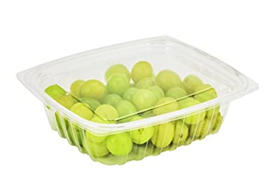 Dart C24DER, 24-Ounce ClearPac Clear Rectangular Plastic Container With Clear Flat Lid, Take Out Deli Fruit Food Disposable Containers by Dart