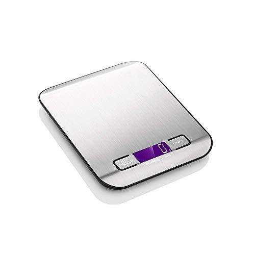 GJFeng roestvrijstalen keukenweegschaal, elektronische weegschaal, draagbare elektronische precisie, gewicht zakweegschaal, zachtvoeding, 5 kg, 1 g