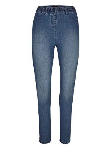 MIAMODA Damen Jeggings Blue Bleached 22 Baumwolle