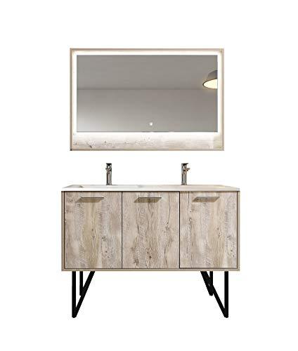 Badkamermeubelset Tulum 120cm hout-look - badmeubel badkamermeubel badkamer dubbele wastafel LED-spiegel