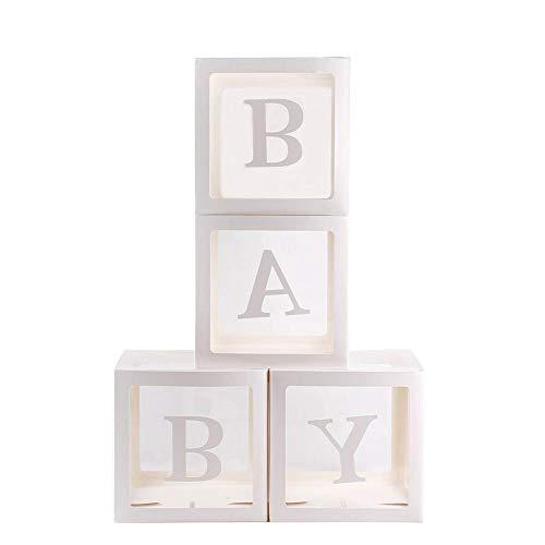4Pcs / Set Quadrato Trasparente Palloncino Scatole Baby Shower Battesimo Compleanno Festa Decorazione - Bambino