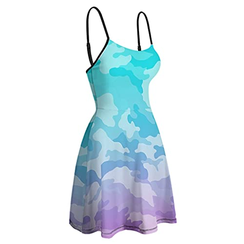 Chicici Fashion Vestido de verano para mujer, diseño de camuflaje de fantasía y camuflaje