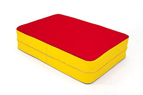 FLIXI Hüpfmatratze – ab 4 Jahre – Turn Matte für Kinder - Spiel Matratze zum Toben - Hüpfen - Balancieren – in Rot Gelb