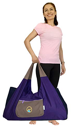 JoYnWell Extra Large Yoga Mat Bag with Sewn-in Mat Holder Straps, Full-Zip, 4 Zip Pockets, Gym Duffle Bag Fits All Your Yoga Accessories for Women and Men, Yoga Props, Bolster and Blocks
