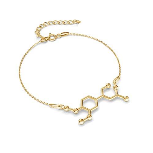 Pulsera de plata de ley 925 chapada en oro de 24 quilates, Adrenalin, fórmula química, longitud ajustable, joya con caja de regalo