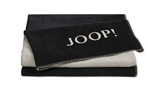 Joop!® Uni-Doubleface I flauschig-weiche Kuscheldecke Anthrazit-Ash I Wohndecke aus Baumwolle und Dralon® in grau I Tagesdecke 150x200cm   nachhaltig produziert in Deutschland I Öko-Tex Standard 100