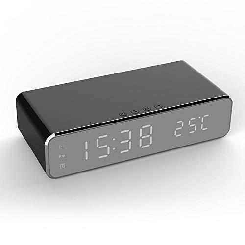 Reloj Despertador eléctrico LED con teléfono Cargador inalámbrico Termómetro Digital de Escritorio...