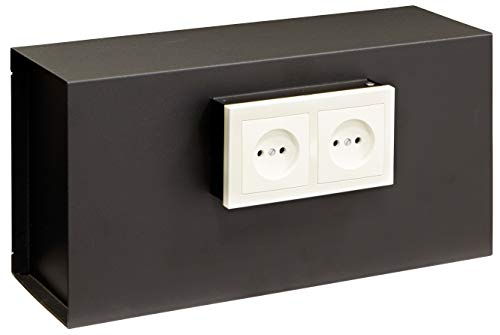 Arregui Socket 23000W-S1 Wandtresor, Getarnt hinter der Steckdosenplatte, 20x40cx13 cm, 12 L, schwarz, 0,8
