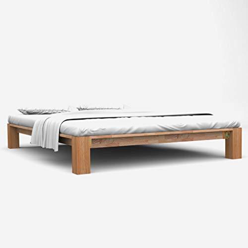 vidaXL Eiche Massiv Bettgestell 160x200 cm Bettrahmen Bett Doppelbett Holzbett