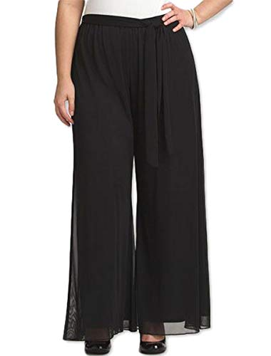RED DOT BOUTIQUE 8006 - Plus Size Elastic Waistband Wide Legged Palazzo Pants (Size 1X - 4X) (3X, Black)