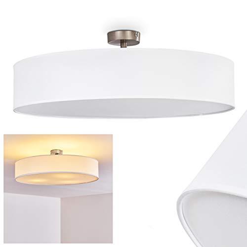 Deckenleuchte Foggia, runde Deckenlampe mit Lampenschirm aus Stoff in Weiß, Ø 60 cm, LED-fähig, 3 x E27-Fassung, 40 Watt, Retro-Design