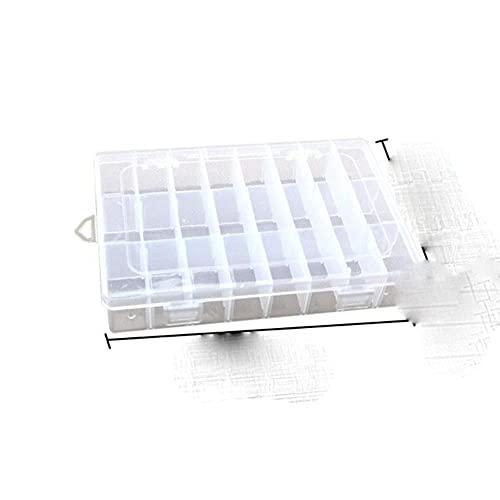 Caja práctica Caja de almacenamiento de plástico con compartimento de 24 rejillas Caja de soporte de tornillo de cuentas de joyería de maquillaje Contenedor de exhibición extraíble