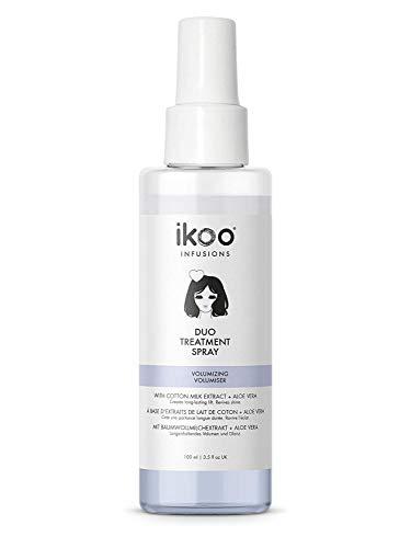 ikoo infusions Duo Treatment Spray – Haarkur Volumizing, Haaröl für dünnes, feines Haar, Haarpflege ohne Ausspülen, Haarmaske für mehr Volumen, Ohne Silikone, Baumwollmilch, Aloe Vera, Vegan - 100 ml