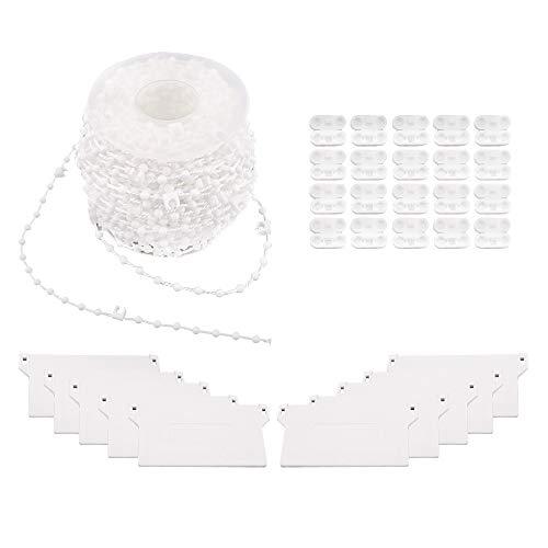 Homo Trends - 1 cortina vertical (20 m), 10 listones inferiores, 20 conectores de cadena de plástico para cortinas verticales y accesorios para persianas venecianas, ventana