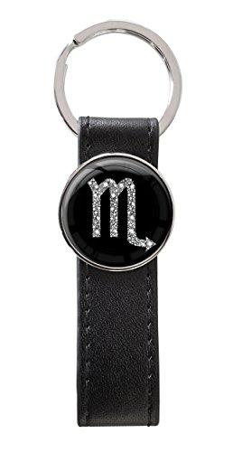 Schlüsselanhänger Kunstleder Metall Rund Sternzeichen Skorpion Silber 36100067
