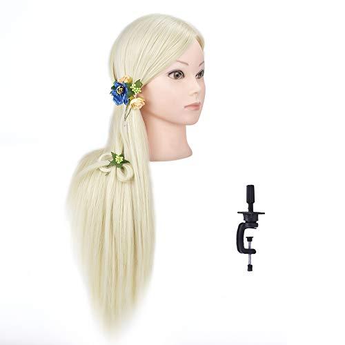Si Fi - Testa di manichino da 71,1 cm professionale, per acconciatura, per capelli, per trucchi, parrucchieri, bambola, manichino con morsetto incluso